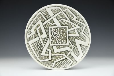 Shallow Bowl with Square, Pathway, and Spiral