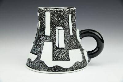 Vessel with Handle and Rectangular Solid Cup