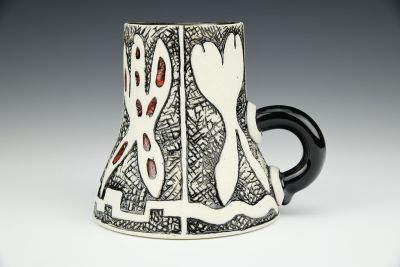 Vessel with Handle and Four Ghosts Cup