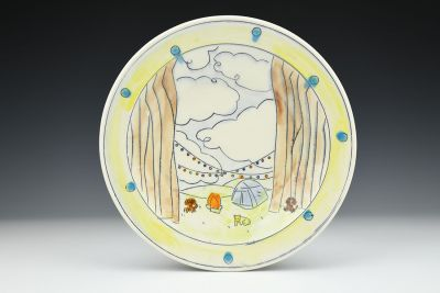 Dogs Camping Plate