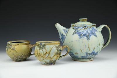 Teapot and Two Companion Cups