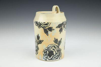 Rainy Garden Rose Soda Fired Jar