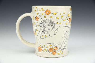 Mug with Lady and Flowers