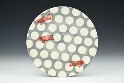 Stormy Skies Plate with Polka Dots