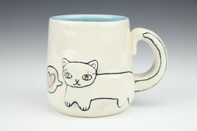 Cat Doodle Mug with Luster