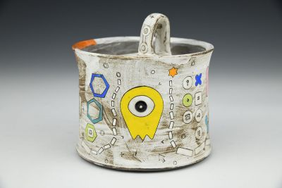 Tin White Alien Sugar Pot