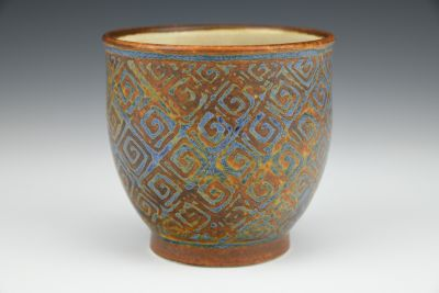 Ochre and Blue Teabowl