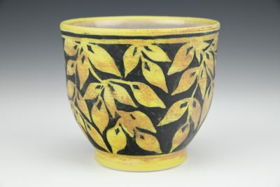 Black and Brown Teabowl with Yellow Leaves