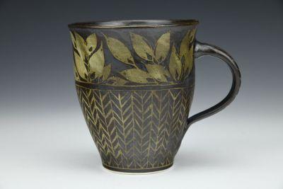 Black Leaves and Herringbone Mug