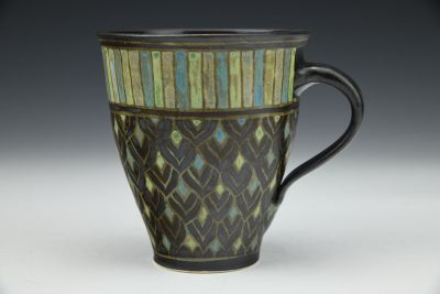 Black Petals and Stripes Mug