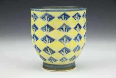 Blue and Yellow with Dots Teabowl