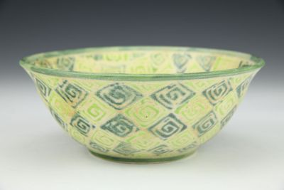 Light and Dark Green Diamonds Bowl