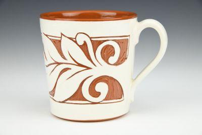 Terracotta and White Mug