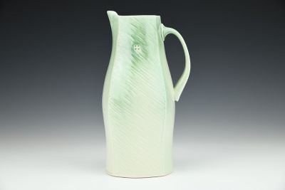 White and Light Green Square Pitcher