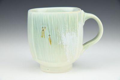 Light Green and White Square Mug