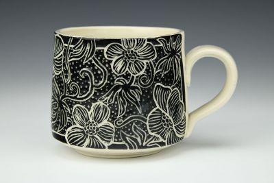 Black and White Floral Mug