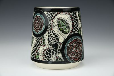 Large Snake and Roses Wine Cup
