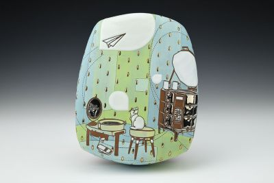 Cat in the Pottery Studio Wall Hanging with Wheel and Kiln