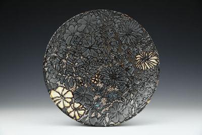 Black Floral Platter