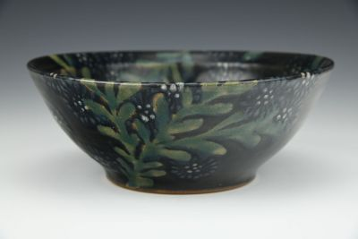 Black Daisy Small Serving Bowl