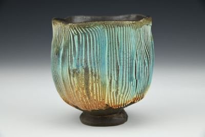 Turquoise Yunomi with Striations