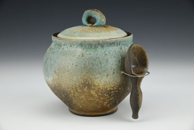 Turquoise Lidded Jar with Scoop