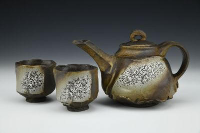 Faceted Teapot with Cups