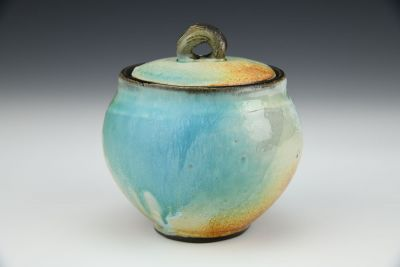 Small Turquoise Lidded Jar