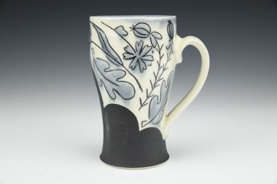 Stormy Grey Floral Mug