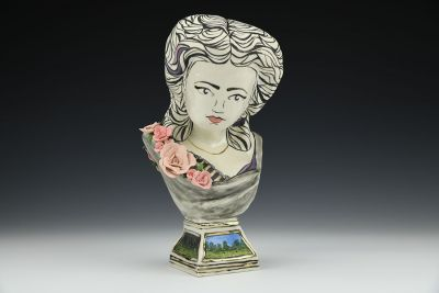 Adelaide Bust with Roses on Base