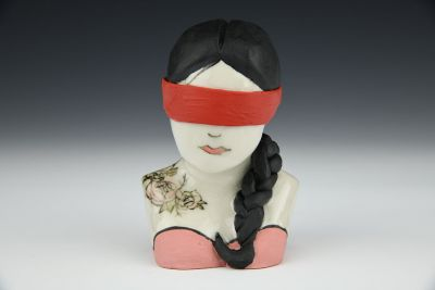 Isra Black Haired Bust with Red Blindfold