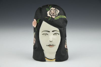 Lady Head with Snake and Pink Roses