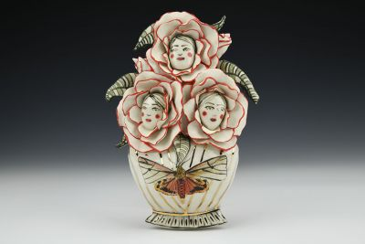 Like Minds Moth Vase with Flower Lady Heads