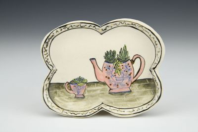 Thinking of You with Pink Teaset and Succulents