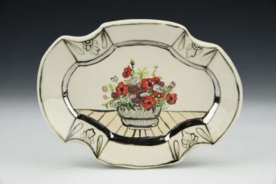 Thinking of You with Red Flowers in Silver Bowl