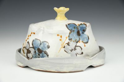 Blue and Grey Floral Butter Dish