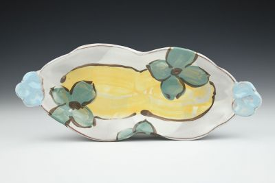 Short Teal and Yellow Tray
