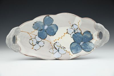 Long Blue Floral Tray with Puffy Handles