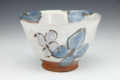 Blue Floral Small Bowl with Yellow Center