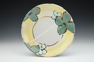Teal and Turquoise Floral Dinner Plate with Yellow Rim