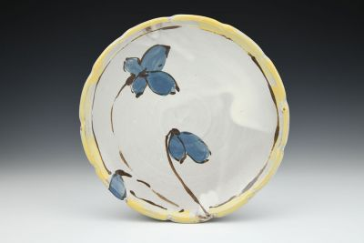 Blue Floral Dinner Plate with Yellow Rim
