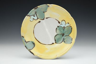 Teal and Turquoise Dessert Plate with Yellow Rim