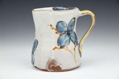 Blue Floral Mug with Willows