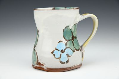 Teal and Turquoise Floral Mug