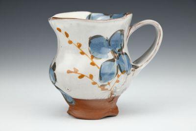 Teal Floral Petal Mug with Willows