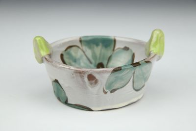 Snack/ Dip Bowl with Teal and Turquoise Flowers