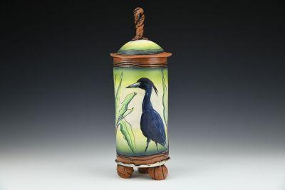 Medium Blue Heron Jar