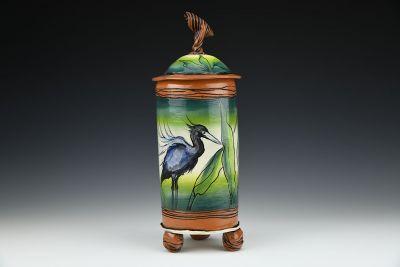 Large Blue Heron Jar
