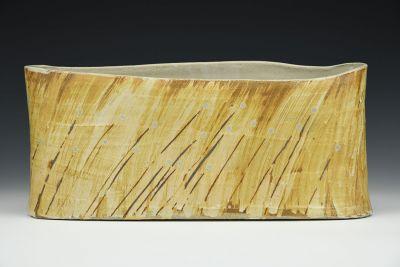 Grass Motif Oval Vase