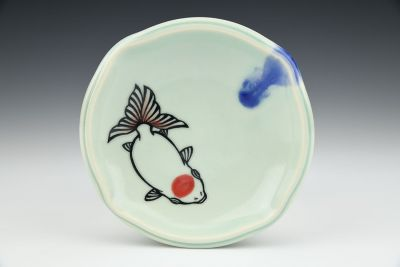 Small Goldfish Plate Celadon Red